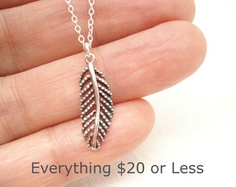 Sterling silver Feather Necklace...Lucky charm, Inspirational jewelry, Symbolic pendant, Bridesmaid gift, Friendship gift, gift for her