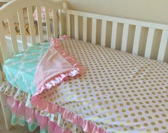 Mint Toddler Bedding, Gold Dot Toddler Bedding Sets, Pink Toddler Bedding, Crib Bedding Set for Toddlers, Girl Toddler Bedding