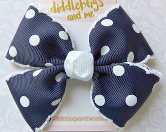 Navy Polka Dot Hair Bow, Blue Pinwheel Hair Bow, Girls Hair Bow,  Pinwheel Hair Bow, Girls Hair Accessories, Hair Bows, Piggy Tail Bows
