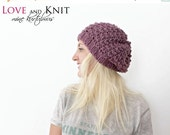 SALE Slouchy Hat - Hand Knit Winter Hat - Slouchy Wool Hat - Wool Beanie - Chic Winter Hat - Raspberry - Slouchy Beanie . Textured Knit Bean