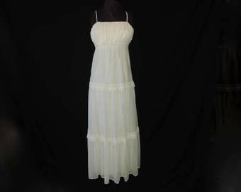 vintage prairie sundress 1970s cream lace maxi festival sun dress woodland wedding gown small