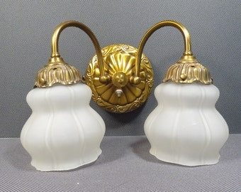 Double Wall Sconce Vintage 1940s 1950s Gold Metal Frosted Glass Shade Shabby Chic Wall Light Fixture