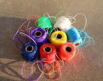 Vintage Plastic Lanyard Lacing Destash Lot Bright Colors Kids Crafting Yardage Blue Purple Red Yellow White Rainbow