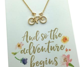 """Bike Necklace, Silver or Gold Bicycle Charm Necklace, carded """"And so the adventure Begins""""  graduation gift,  travel journey jewelry gift"""