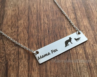 Mama Fox Wolf Necklace Mama Elephant Necklace Mama Bird Necklace Mama Turtle Bar Mom Necklace Bar Jewelry Mama Deer Mama Owl Mama Moose