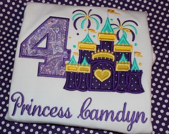 4th birthday Princess Castle Birthday Personalized tshirt, or dress- any number