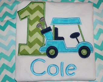 1st birthday golf tshirt, or dress for boy or girl- any number you choose colors