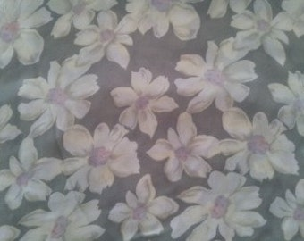 Vintage Chiffon Floral Print Fabric 4 yards