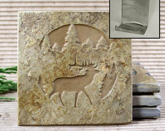 Etched Natural Stone Coaster Set with Holder - Elk in Pine trees on Buff Slate