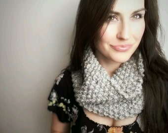 Grey Knit Cowl//Chunky//Thick//Rustic//Earthy***Ready To Ship***