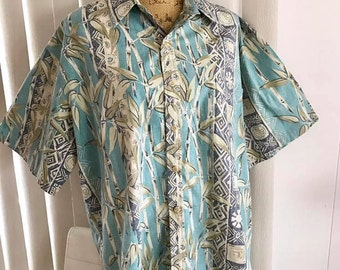 Mens Vintage Reproduction Tiki Hawaiian Shirt -- Made in Hawaii XL - XXL
