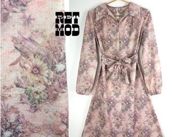 Vintage 60s 70s Dusty Pink Floral Scooter Dress with Balloon Sleeves!