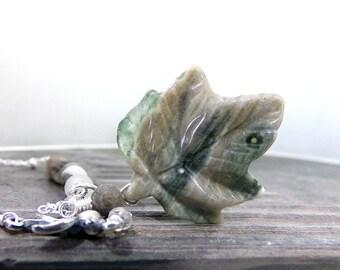 Leaf Necklace, Bird Necklace, Sterling Silver, Natural Stone Necklace, Amazonite Necklace, Bird Charm Necklace, Carved Leaf - Walk in Winter