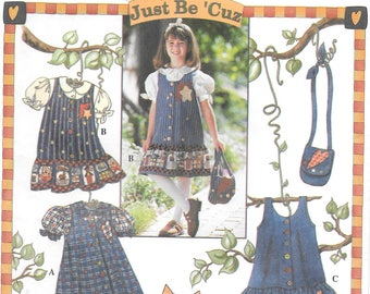 Vintage Simplicity 7015 Girls Jumper or Dress, Blouse and Purse Pattern (3-4-5-6)