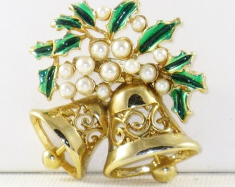 Vintage Gold Tone Faux Pearl Christmas Bells Brooch Pin (C-1)