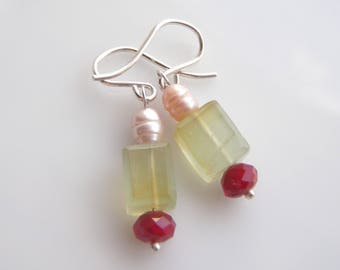 Chalcedony Ruby RED Pearl Earrings