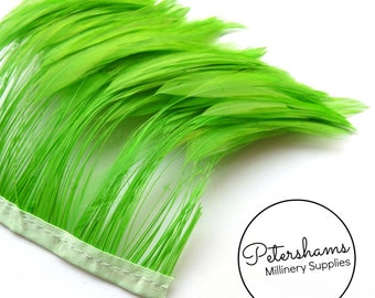 Stripped Hackle Feather Fringe for Millinery, Hat Making 10cm Strip - Bright Green