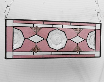 Vintage Stained Glass Window Panel, Depression Glass Transom Window,  Antique Stained Glass Window Valance, Recycled Heisey Beehive Plates