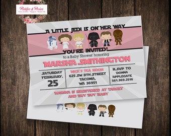 Pink Star Wars Baby Shower Invitation - Star Wars Shower - PRINTABLE Decorations - Star Wars Baby Shower Supplies - Star Wars Invitation