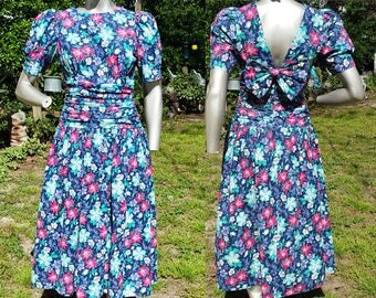 Bold Floral 80s Dress by Paquette Too!, Vintage Dress, 80s Costume, Floral Dress Size 8