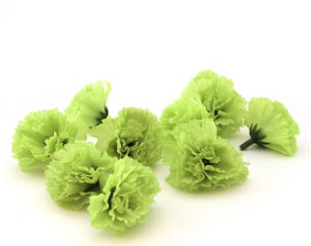 25 Lime Green Baby Carnations - Artificial Flowers - Silk Flower Heads