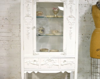 Painted Cottage Chic Shabby White Romantic French China Cabinet CC898