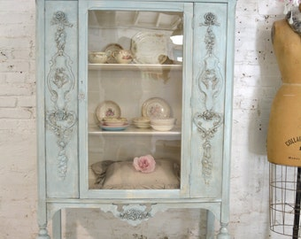 Painted Cottage Chic Shabby Aqua Romantic French China Cabinet CC900