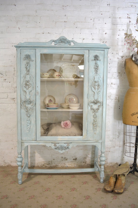 Painted Cottage Chic Shabby Aqua Romantic French China Cabinet