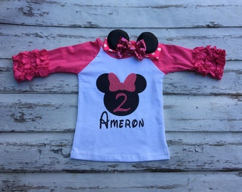 Hot pink Minnie Mouse birthday shirt and headband set Disney Minnie Mouse ruffle raglan shirt mouse ears headband