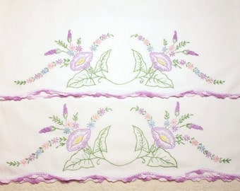 Sweet Pair of Lavender and Morning Glories Design Embroidered Vintage Pillowcases
