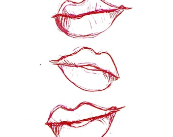 minimalist watercolor print: lips