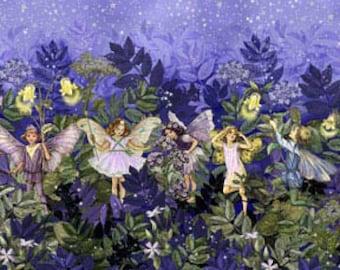 Michael Miller Nite Night Flower Fairies Border Metallic Fabric by the yard DM5048-NITE