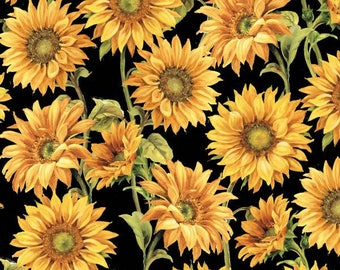 Wilmington Prints - Follow the Sun - Large Packed Sunflowers - Black - Fabric by the Yard 86429-957