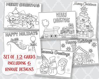 Christmas, Coloring, Greeting Cards, Holiday Greetings, Printed, Assortment, 12 with Envelopes, Kids, Adult, DIY, Crafts, Grandchildren