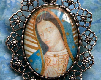 Handmade Our Lady of Guadalupe Jewelry Pendant Brooch Pin Virgin Mary Catholic Mexican Holy Mother