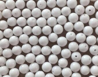 30 x 6mm white dyed jade round beads