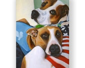 Reserved for Scott - Original painting of dogs, acrylic on canvas, 9x12