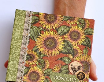 List Journal, Hand Bound Book, Ring Binder, Country French, Sun Flowers