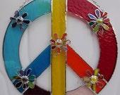 RESERVED listing for DEANNA HEERMANN-Stained Glass Peace Sign -Custom Order-Handmade