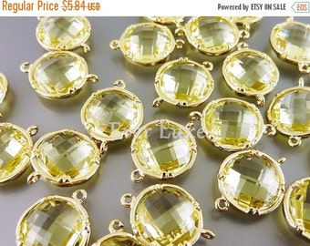 15% SALE 2 Large 12mm lemon yellow glass connectors, round glass links 5014G-LM-12