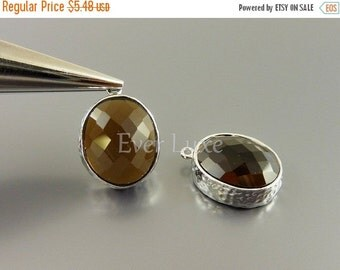15% SALE 2 smoky quartz brown oval glass in hammered bezel setting for jewelry making / glass beads charms 5074R-SQ (silver, smoky quartz, 2