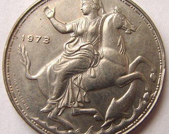 1973 GREEK NYMPH on HORSE 40 Years Old Greece 20 Drachmas King Constantine 2nd Athens Mint large Coin