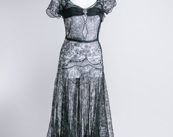 Lace 30's Evening Dress - Sz S