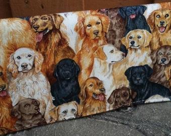 Handmade Fabric Checkbook Cover-  multi dogs