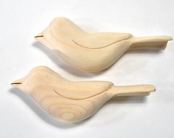 Unfinished Wood Bird Sculpture Wooden Birds Ornament Craft Supplies Woodworking, Adult Craft, Summer Craft Home Made Gifts