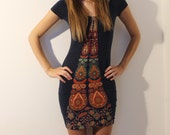 Bodycon Minidress in dark blue with boho detail