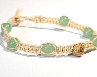 Green Jade Knotted Hemp Bracelet or Anklet – HB306