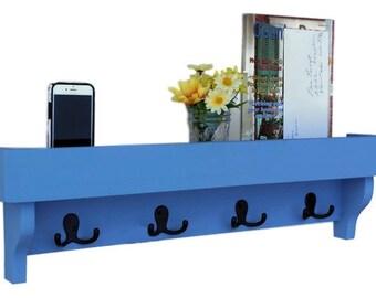 Coat Rack Shelf with Storage Tray - Coat Hooks - Painted Wood Shelf