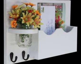 Mail Key Holder - Mail Organizer - Large Mail Slot - Mail Holder - Double Slots - Key Hooks - Jar Vase - Organizer - Painted Distressed Wood