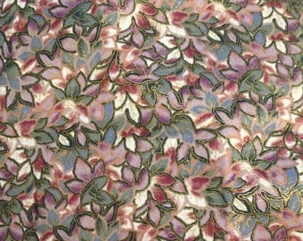 """Quilt Fabric by Hoffman California - """"Camelot"""" Multi Color Leaves With Gold Edge - 3/4 Yard"""